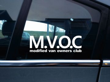 A pair of MVOC modified van owners club stickers